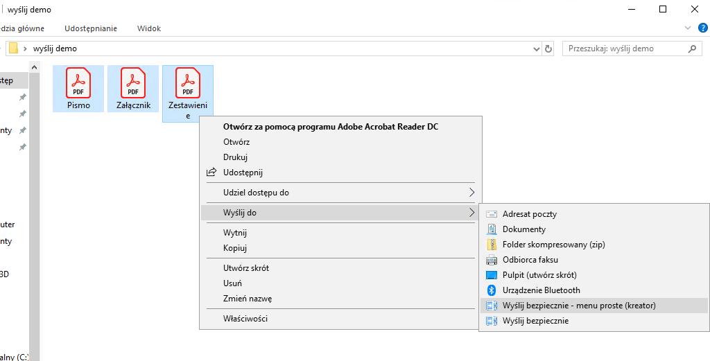screen: menu kontekstowe, krok 2